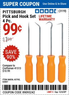 Harbor Freight Coupon PITTSBURGH 4 PIECE PICK AND HOOK SET Lot No. 34328, 66836, 63765, 63697 Valid Thru: 12/3/20 - $0.99