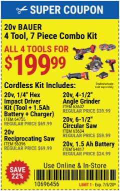 Harbor Freight Coupon 20V BAUER 4 TOOL, 7 PIECE COMBO KIT Lot No. 64755, 56396, 63632, 63634, 64817 Expired: 7/5/20 - $199.99