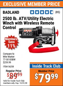 Harbor Freight ITC Coupon BADLAND ZXR 2500LB ATV/UTILITY WINCH WITH WIRELESS REMOTE Lot No. 56258 Valid Thru: 10/31/20 - $79.99