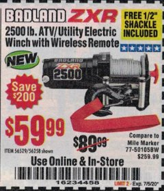 Harbor Freight Coupon BADLAND ZXR 2500LB ATV/UTILITY WINCH WITH WIRELESS REMOTE Lot No. 56258 Expired: 7/5/20 - $59.99