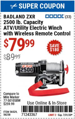 Harbor Freight Coupon BADLAND ZXR 2500LB ATV/UTILITY WINCH WITH WIRELESS REMOTE Lot No. 56258 Expired: 7/15/20 - $79.99