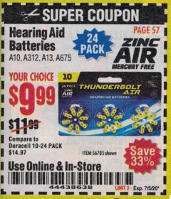 Harbor Freight Coupon HEARING AID BATTERIES Lot No. 56785 Expired: 7/5/20 - $9.99