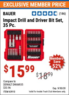 Harbor Freight ITC Coupon BAUER 35 PIECE IMPACT DRILL AND DRIVER SER Lot No. 63910 Valid Thru: 9/30/20 - $15.99