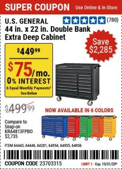 "Harbor Freight Coupon U.S. GENERAL 44"" X 22"" DOUBLE BANK EXTRA DEEP CABINETS (ALL COLORS) Lot No. 64446/64443/64281/64954/64955/64956 Expired: 10/31/20 - $449.99"