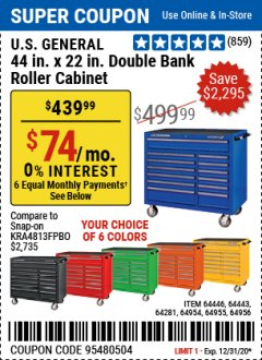 "Harbor Freight Coupon U.S. GENERAL 44"" X 22"" DOUBLE BANK EXTRA DEEP CABINETS (ALL COLORS) Lot No. 64446/64443/64281/64954/64955/64956 Expired: 12/31/20 - $439.99"