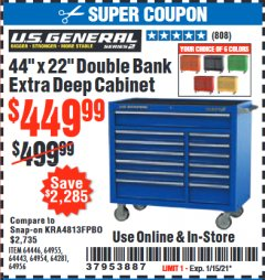 "Harbor Freight Coupon U.S. GENERAL 44"" X 22"" DOUBLE BANK EXTRA DEEP CABINETS (ALL COLORS) Lot No. 64446/64443/64281/64954/64955/64956 Expired: 1/15/21 - $449.99"