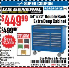 "Harbor Freight Coupon U.S. GENERAL 44"" X 22"" DOUBLE BANK EXTRA DEEP CABINETS (ALL COLORS) Lot No. 64446/64443/64281/64954/64955/64956 Expired: 1/18/21 - $449.99"