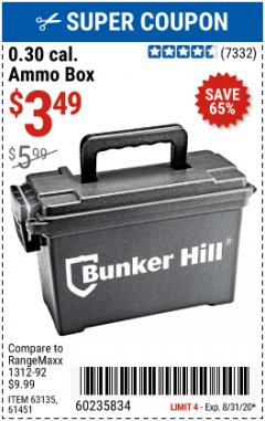 Harbor Freight Coupon BUNKER HILL 0.30 CAL. AMMO BOX Lot No. 63135/61451 Expired: 8/31/20 - $3.49