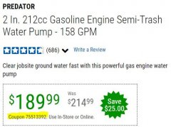 "Harbor Freight Coupon 2"" SEMI-TRASH GASOLINE ENGINE WATER PUMP (212 CC) Lot No. 56160/63405 Valid Thru: 12/31/20 - $189.99"