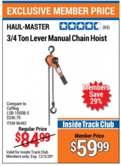 Harbor Freight Coupon 3/4 TON LEVER MANUAL CHAIN HOIST Lot No. 96482 Expired: 12/3/20 - $59.99