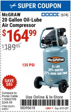 Harbor Freight Coupon MCGRAW  Lot No. 56241, 64857 Valid: 7/31/20 - 8/31/20 - $164.99