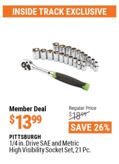 "Harbor Freight ITC Coupon 21 PIECE, 1/4"" DRIVE SAE/METRIC SOCKET SET Lot No. 62303, 93573, 67905 Valid Thru: 4/29/21 - $13.99"
