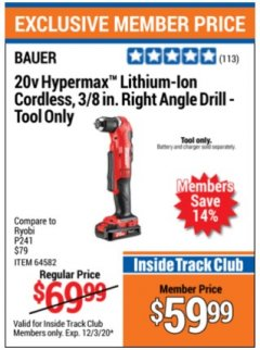 "Harbor Freight ITC Coupon 20V HYPERMAX LITHIUM-ION CORDLESS 3/8"" RIGHT ANGLE DRILL Lot No. 64582 Expired: 12/3/20 - $59.99"