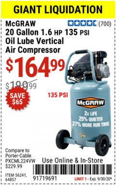 Harbor Freight Coupon 20 GALLON, 1.6 HP, 135 PSI OIL LUBE VERTICAL AIR COMPRESSOR Lot No. 64857/56241 Expired: 9/30/20 - $164.99