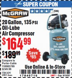 Harbor Freight Coupon 20 GALLON, 1.6 HP, 135 PSI OIL LUBE VERTICAL AIR COMPRESSOR Lot No. 64857/56241 Expired: 9/13/20 - $164.99