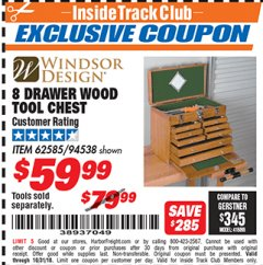 Harbor Freight ITC Coupon EIGHT DRAWER WOOD TOOL CHEST Lot No. 62585/94538 Expired: 10/31/18 - $59.99