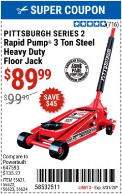 Harbor Freight Coupon 3 TON HEAVY DUTY RAPID PUMP FLOOR JACK Lot No. 56624/56621/56622/56623 Expired: 8/31/20 - $89.99
