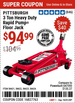 Harbor Freight Coupon 3 TON HEAVY DUTY RAPID PUMP FLOOR JACK Lot No. 56624/56621/56622/56623 Expired: 10/31/20 - $94.99