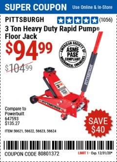Harbor Freight Coupon 3 TON HEAVY DUTY RAPID PUMP FLOOR JACK Lot No. 56624/56621/56622/56623 Expired: 12/31/20 - $94.99