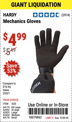 Harbor Freight Coupon HARDY MECHANICS GLOVES Lot No. 62434, 62426, 62433, 62432, 62429, 64179, 62428, 64178 Expired: 9/30/20 - $4.99