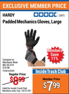 Harbor Freight ITC Coupon HARDY MECHANICS GLOVES Lot No. 62434, 62426, 62433, 62432, 62429, 64179, 62428, 64178 Expired: 10/31/20 - $7.99