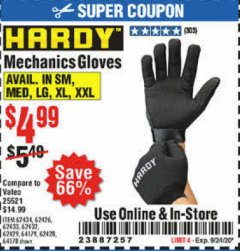 Harbor Freight Coupon HARDY MECHANICS GLOVES Lot No. 62434, 62426, 62433, 62432, 62429, 64179, 62428, 64178 Expired: 9/24/20 - $4.99