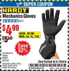 Harbor Freight Coupon HARDY MECHANICS GLOVES Lot No. 62434, 62426, 62433, 62432, 62429, 64179, 62428, 64178 Valid Thru: 12/3/20 - $4.99