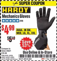 Harbor Freight Coupon HARDY MECHANICS GLOVES Lot No. 62434, 62426, 62433, 62432, 62429, 64179, 62428, 64178 Valid Thru: 12/18/20 - $4.99