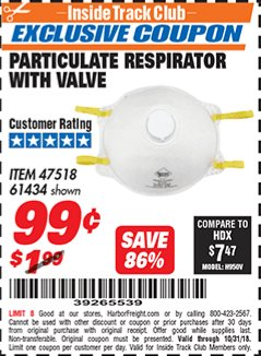 Harbor Freight ITC Coupon PARTICULATE RESPIRATOR WITH VALVE Lot No. 61434/47518 Expired: 10/31/18 - $0.99