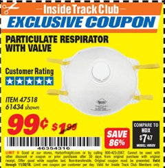Harbor Freight ITC Coupon PARTICULATE RESPIRATOR WITH VALVE Lot No. 61434/47518 Expired: 11/30/18 - $0.99