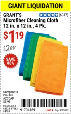 Harbor Freight Coupon GRANT'S MICROFIBER CLEANING CLOTH 12 IN X 12 IN, 4 PK Lot No. 63358, 63925, 57162, 63363 Valid: 9/1/20 - 9/30/20 - $1.19