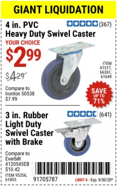 Harbor Freight Coupon 4 IN PVC HEAVY DUTY SWIVEL CASTER OR 3 IN LIGHT DUTY SWIVEL CASTER WITH BRAKE Lot No. 41517, 66361, 61649, 95356, 61855 Valid: 9/1/20 - 9/30/20 - $2.99