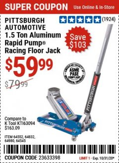 Harbor Freight Coupon RAPID PUMP 1.5 TON LIGHTWEIGHT ALUMINUM FLOOR JACK Lot No. 64552/64832/64980/64545 Expired: 10/31/20 - $59.99