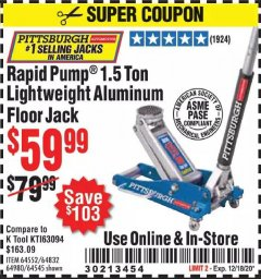 Harbor Freight Coupon RAPID PUMP 1.5 TON LIGHTWEIGHT ALUMINUM FLOOR JACK Lot No. 64552/64832/64980/64545 Valid Thru: 12/18/20 - $59.99