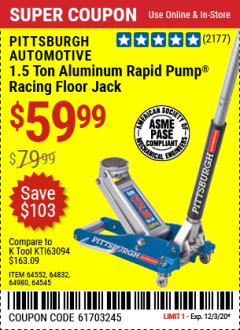 Harbor Freight Coupon RAPID PUMP 1.5 TON LIGHTWEIGHT ALUMINUM FLOOR JACK Lot No. 64552/64832/64980/64545 Expired: 11/25/20 - $59.99
