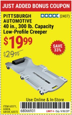 Harbor Freight Coupon 40 IN., 300LB. CAPACITY LOW-PROFILE CREEPER Lot No. 63424, 64169, 63372 Valid: 9/1/20 - 9/30/20 - $19.99