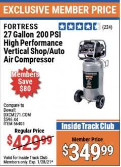 Harbor Freight ITC Coupon FORTRESS 27 GALLON, 200PSI HIGH PERFORMANCE VERTICAL SHOP/AUTO AIR COMPRESSOR Lot No. 57254/56403 Valid Thru: 1/28/21 - $349.99