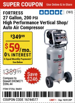 Harbor Freight Coupon FORTRESS 27 GALLON, 200PSI HIGH PERFORMANCE VERTICAL SHOP/AUTO AIR COMPRESSOR Lot No. 57254/56403 Expired: 10/31/20 - $349.99