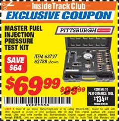 Harbor Freight ITC Coupon MASTER FUEL INJECTION PRESSURE TEST KIT Lot No. 97706 Expired: 6/30/18 - $69.99
