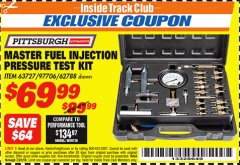 Harbor Freight ITC Coupon MASTER FUEL INJECTION PRESSURE TEST KIT Lot No. 97706 Expired: 7/31/18 - $69.99