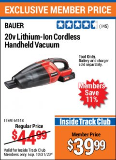 Harbor Freight ITC Coupon 20V LITHIUM-ION CORDLESS HANDHELD VACUUM Lot No. 64148 Expired: 10/31/20 - $39.99