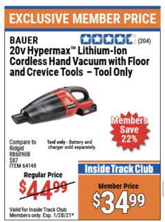 Harbor Freight ITC Coupon 20V LITHIUM-ION CORDLESS HANDHELD VACUUM Lot No. 64148 Valid Thru: 1/28/21 - $34.99