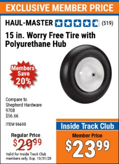 Harbor Freight ITC Coupon 15 IN. WORRY FREE TIRE WITH POLYURETHANE HUB Lot No. 96690 Valid Thru: 10/31/20 - $23.99