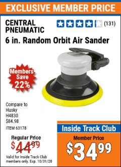 "Harbor Freight ITC Coupon 6""SANDER Lot No. 63178 Expired: 10/31/20 - $34.99"
