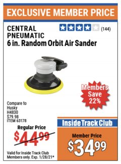 "Harbor Freight ITC Coupon 6""SANDER Lot No. 63178 Valid Thru: 1/28/21 - $34.99"