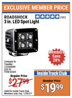 Harbor Freight ITC Coupon 3 IN. LED SPOT LIGHT Lot No. 64323 Valid Thru: 1/28/21 - $19.99