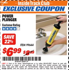 Harbor Freight ITC Coupon POWER PLUNGER Lot No. 99644 Expired: 8/31/18 - $6.99