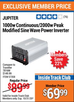 Harbor Freight ITC Coupon JUPITER 1000W CONTINOUS/2000W PEAK MODIFIED SINE WAVE POWER INVERTER Lot No. 57358 Valid Thru: 10/31/20 - $69.99