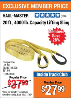 Harbor Freight ITC Coupon HAUL-MASTER 20 FT., 4000 LB. CAPACITY LIFTING SLING Lot No. 34708 Valid Thru: 10/31/20 - $27.99