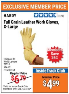 Harbor Freight ITC Coupon HARDY FULL GRAIN LEATHER WORK GLOVES, X-LARGE  Lot No. 63145 Expired: 12/3/20 - $4.99